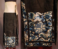 Antique Chinese Black Silk Blue Forbidden Stitch Embroidered Han Wedding Skirt
