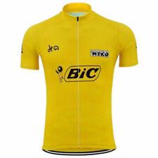 Luis Ocana Spain Yellow BIC cycling Short Sleeve Jersey mens Cycling Jerseys
