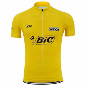 Luis Ocana Spain Yellow BIC cycling Short Sleeve Jersey mens Cycling Jerseys