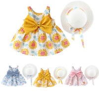 Infant Toddler Baby Girls Floral Flowers Princess Dress Hat Outfits Kids Clothes