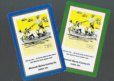Playing Swap Cards 2 VINT  WHIMSICAL SHOOTING  FISHING  GENTS ARTIST SIGNED #312
