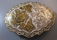 Rose Hearts Floral Belt Buckle Crumrine Western Country Cowgirl Silver plate