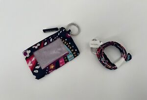 Vera Bradley Lighten Up Zip ID Case & Lighten Up Lanyard Painted Paisley NEW