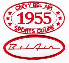 RED WHITE 1955 CHEVY BEL AIR SPORT COUPE SEW/IRON ON PATCH BADGE EMBROIDERED