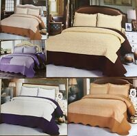 LUXURY HIGH A*QUALITY QUILTED MICROFIBRE WARM 2 TONE 3 PIECE BEDSPREAD/THROW SET