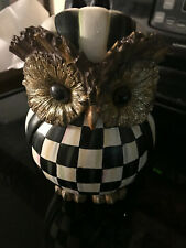 """New listing Mackenzie Childs Courtly Check Resin Owl 9"""" Tall"""