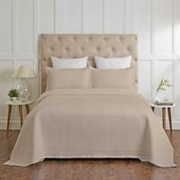 Renee Taylor Madrid 100% Cotton Quilted Coverlet Set Khaki
