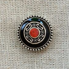 Noosa style chunk snap for leather bracelet -Black eternal circle-red crystal