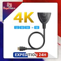 Câble adaptateur répartiteur hub HDMI 3 ports 1.4b 4K commutateur 3 en 1