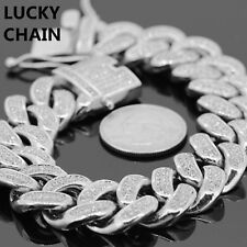 STAINLESS STEEL ICED OUT CUBAN LINK SILVER BRACELET 9''x18mm 122g