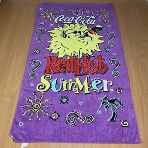 "Vintage 1992 Coca Cola Coke Red Hot Summer Sun Beach Towel 64""x38"" Purple"