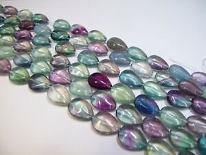 Multi fluorite teardrops 13x18mm. Natural gemstone beads. earrings making 7.5''
