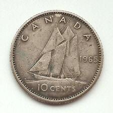 1965 Canadian 10 cent coin 🍁 CANADA DIME ⛵ Queen Elizabeth II SILVER