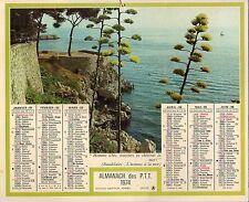 CALENDRIER Almanach des PTT 1974 + COTE D'OR + Bords de mer + Oberthur