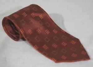 "Ermenegildo Zegna Orange Geometric Pattern 100% Silk Tie 63"" Long 3.75"" Wide"