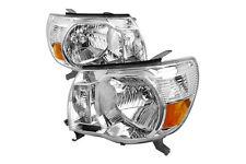 05-10 Toyota Tacoma Single Crew Cab Chrome Amber Housing Headlights Turn Signals
