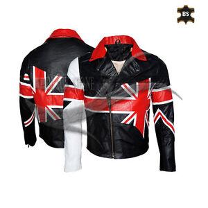 Men's BRANDO UNION JACK Motorcycle BRITISH FLAG Biker Hide Real Leather Jacket