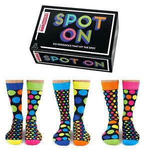 UNITED ODDSOCKS SIX MENS SPOTTY SPOT ON ODD SOCKS UK 6 -11 GIFT IDEA BOXED