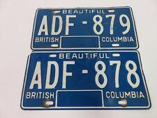 Pair BC BRITISH COLUMBIACANADA license plates 1979-1985
