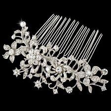 Bridal Wedding Clear Austrian Crystal Silver Flower Hair Clip Comb Head Piece
