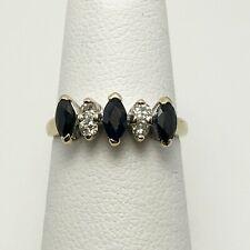 Genuine Sapphire Diamond 14k Yellow Gold Ring (7268)