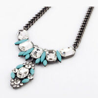 NEW * Stylish Anthropologie Viera Shourok Fringe Baby Blue Beaded Necklace