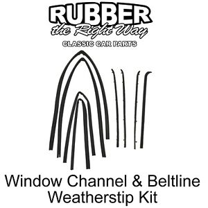 1968 - 1974 Ford Econoline Van Window Channel & Beltline Weatherstrip Kit 8 pc.
