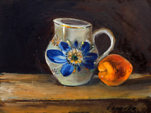The Vase and an apricot Still Life Small oil painting 7.2 x 9.6 in