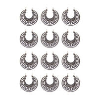 14pcs Antique Style Silver Tone Alloy Flower Pendant Connector Charms 38mm