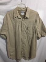 Columbia Men's Khaki Beige Outdoor Fishing Shirt Short Dleeve Size Sz Large Lrg