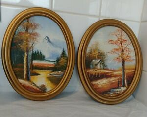 """Pair of Oil Paintings Oval Gilt Effect Frame 10.5"""" Landscape trees Country"""
