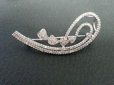 14KT WHITE GOLD DIAMOND PIN/PENDANT!!  DIAMOND SWIRL BROOCH WITH 4 LOVELY HEARTS