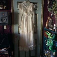 Cream white vintage 70's Gunne Sax prairie boho victorian  wedding dress 11 M