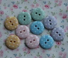 10 Botones Con Lunares Pastel 15 mm