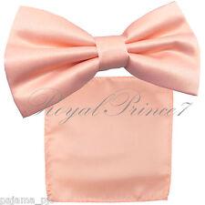Light Peach Men's Butterfly Style Pre-tied Bowtie & Pocket Square Hanky B039