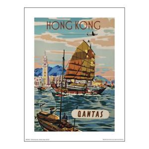 "Qantas Poster Print – Hong Kong: Fly There – Harbour HKG - 40 x 30 cm 16"" x 12"""