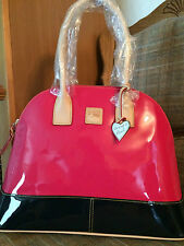 Beautiful Dooney and Bourke Hot Pink and Navy Patent Leather Domed Satchel NWT