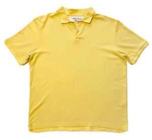 Nautica XXL Performance Deck Shirt Short Sleeve Polo Yellow White Logo