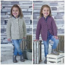 Knitting pattern ragazze Round & V-Neck CAVI Cardigan Aran King Cole 5062