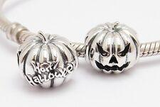 HAPPY HALLOWEEN PUMPKIN CHARM Bead Sterling Silver.925 4 European Bracelets 859