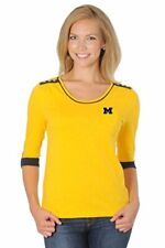Ncaa Michigan Wolverines Women's Roll-Up Top, Large, Navy/Gold/White