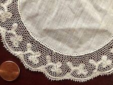 Vintage handmade Valenciennes lace edged doily trefoil flower design