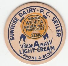 MILK BOTTLE CAP. SUNRISE DAIRY. WICHITA, KS.