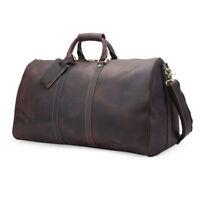 be4a8f692 Vintage Large Men's Leather Travel Luggage Duffle Gym Carry On Bag Shoulder  Bag