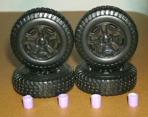 1/18 Scale Miniature 4x4 Tires on Jeep Wrangler JK Rims - Maisto Model Wheels