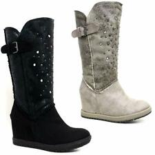 WOMENS LADIES MID CALF SLIP ON BUCKLE COMBAT WEDGE WINTER BOOTS SHOES SIZE 3 -8