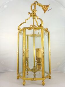 XL French Lantern Louis XVI st Bronze Beveled Glass Late 19TH Chandelier Ceiling