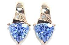 3 Ct Tanzanite 7mm & Diamond Trillion Shape Stud Earrings 14Kt Rose Gold Plated