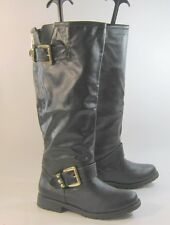 "Black 1"" Low Block Heel Gold Buckle Comfortable Knee Boot Size 8"
