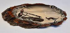 Australian Art Aborigine with Didgeridoo and Kangaroo Laquered Wood Wall Plaque